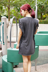 TASSELS LONG DRESS IN GREY