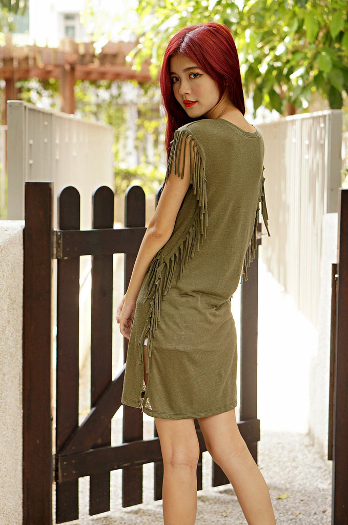 TASSELS LONG DRESS IN OLIVE