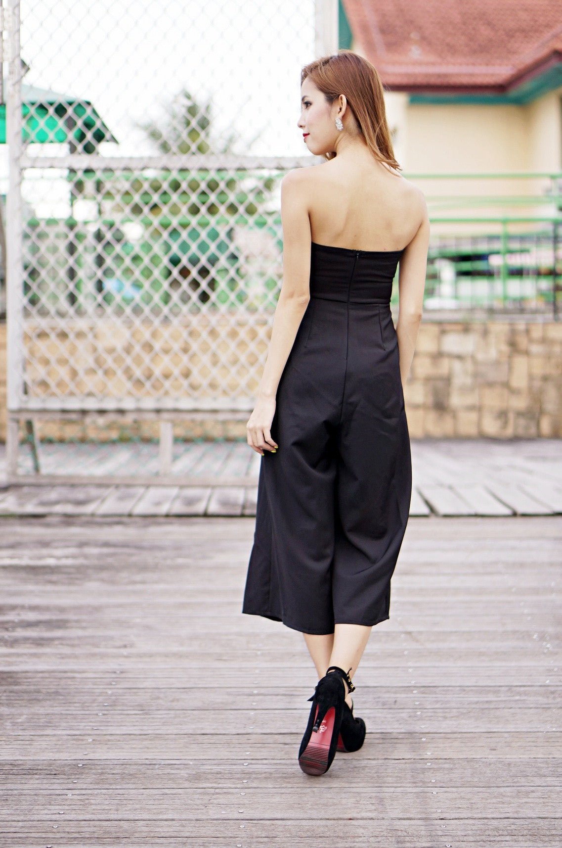 (PREMIUM) COASTAL DREAMS CULOTTES JUMPSUIT IN BLACK - TOPAZETTE