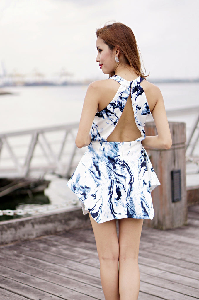 (PREMIUM) MAKING WAVES ROMPER IN BLUE - TOPAZETTE