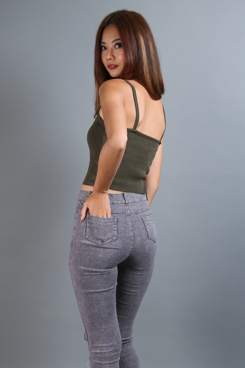 (RESTOCKED 3) LEXI LACED UP TOP IN OLIVE