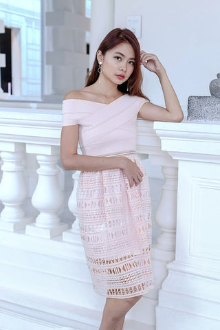 (PREMIUM) LUNA CROCHET BANDAGE DRESS IN BLUSH