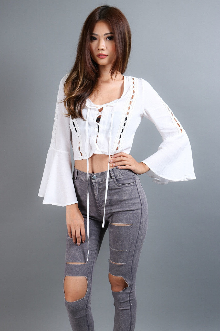 (RESTOCKED) BOHO BELL SLEEVES TOP IN WHITE - TOPAZETTE