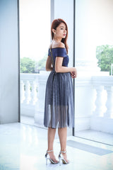 (PREMIUM) BALLERINA TULLE DRESS IN NAVY - TOPAZETTE
