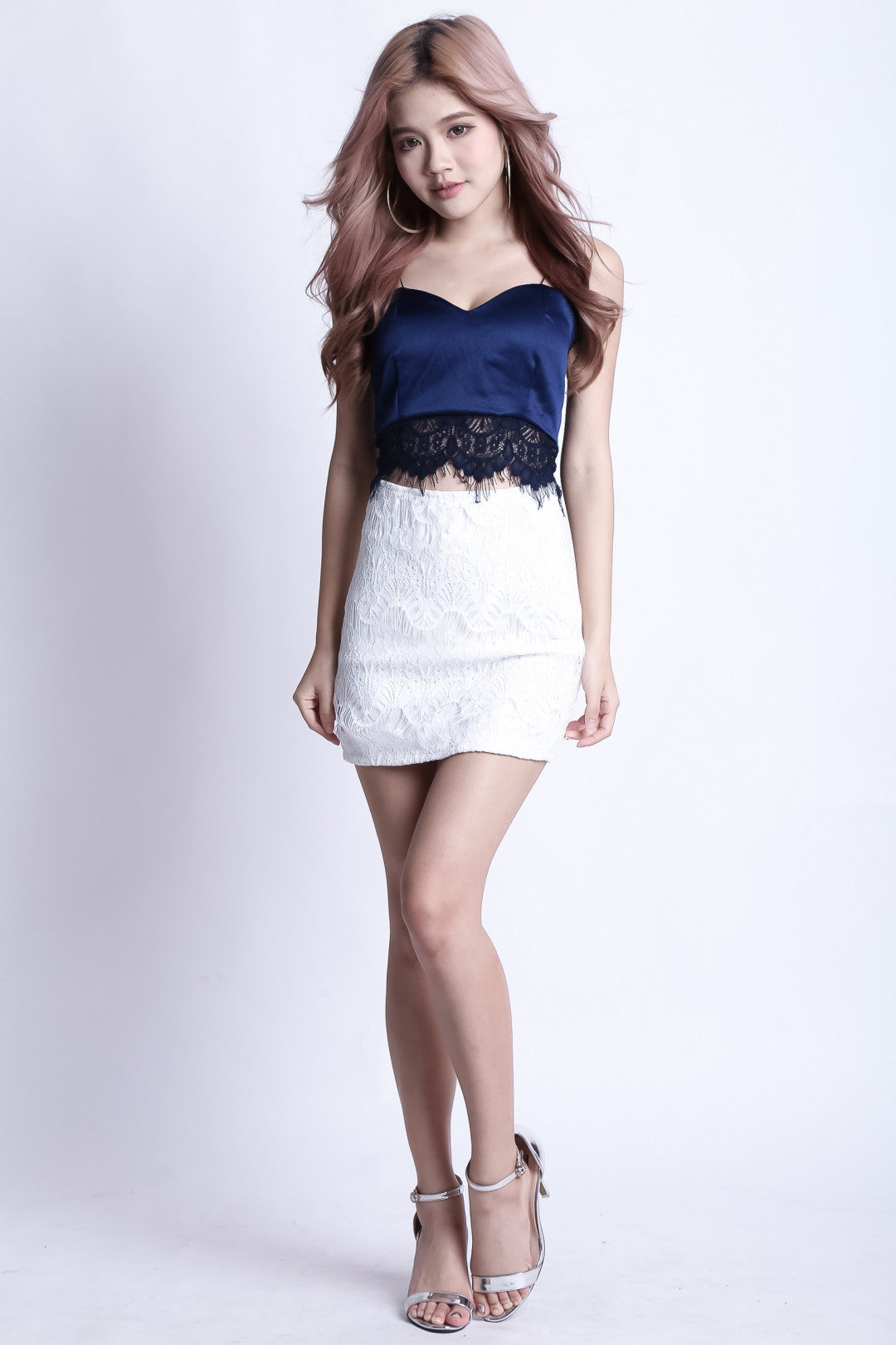 *RESTOCKED* STELLA LACE RIBBON TOP IN NAVY - TOPAZETTE