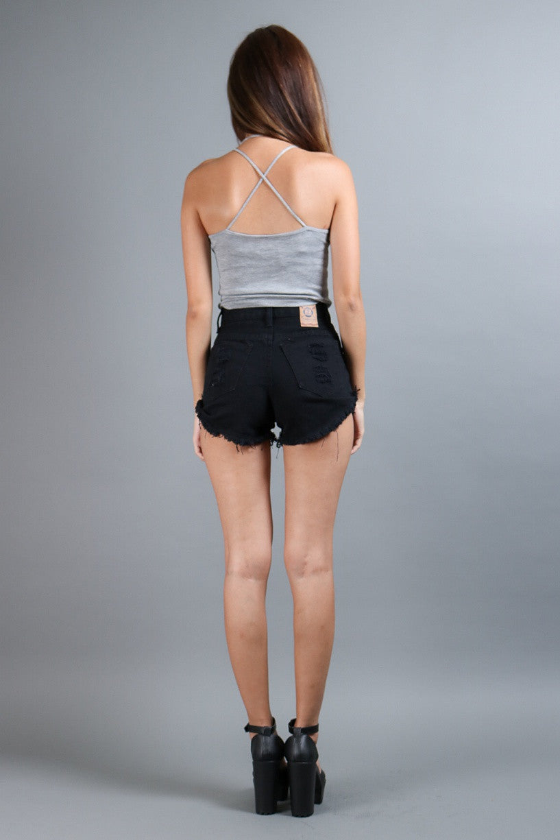 (RESTOCKED) HALTER CROSS BACK TOP IN GREY - TOPAZETTE