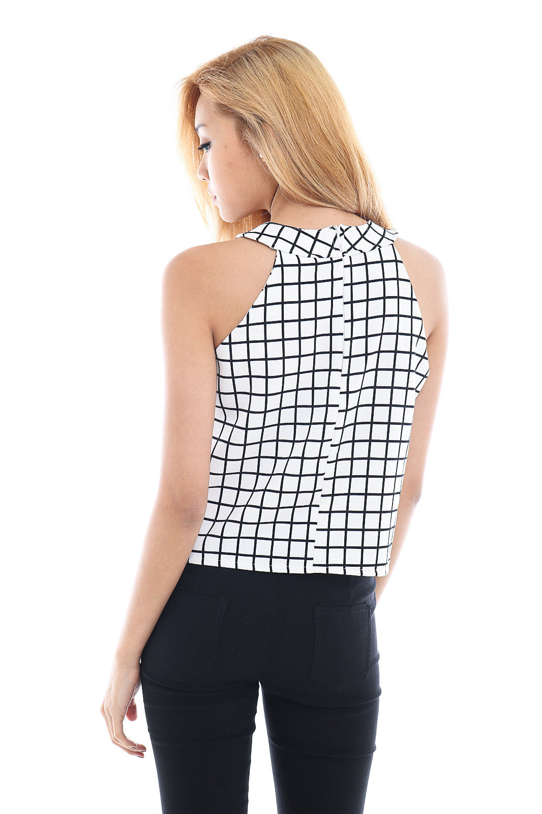 GRID HALTER TOP IN WHITE