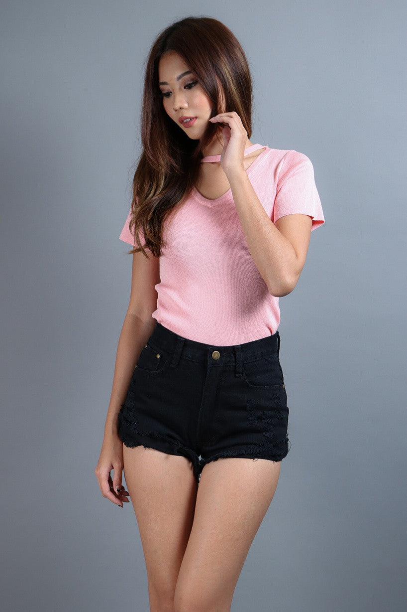 (RESTOCKED) CHOKER REVERSIBLE KNIT TOP IN BABY PINK