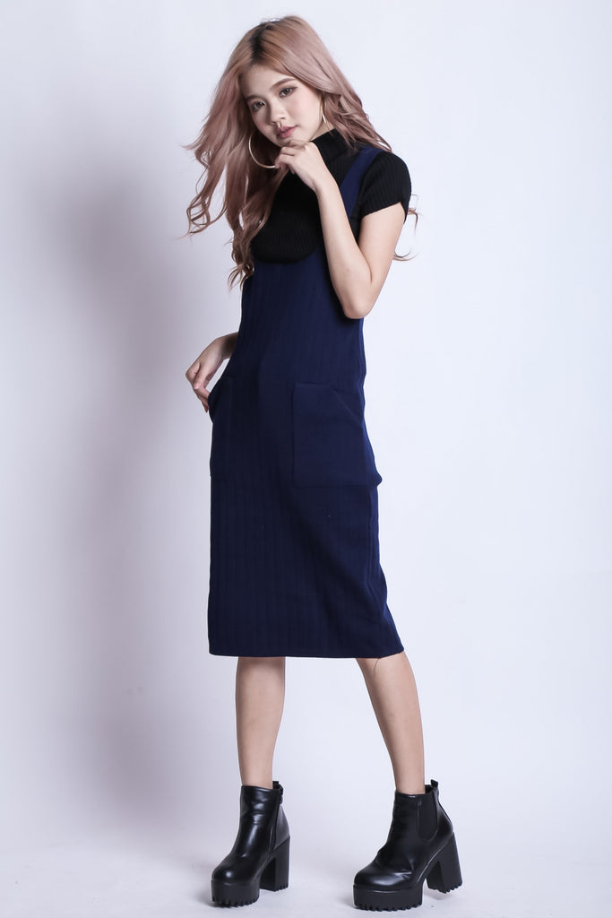 (RESTOCKED) LOVERS KNIT DUNGAREE MIDI IN NAVY - TOPAZETTE