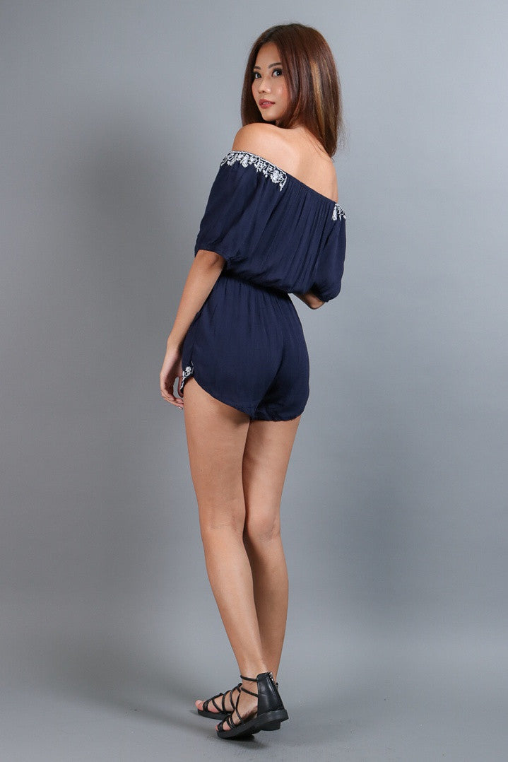 *RESTOCKED* (TOPAZ) INEZ EMBROIDERY ROMPER IN NAVY - TOPAZETTE