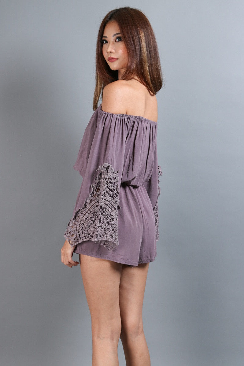 #MADEBYTPZ DREAM BOHO CROCHET ROMPER IN PURPLISH GREY - TOPAZETTE