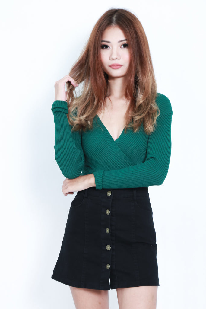 *RESTOCKED* WRAP RIBBED KNIT TOP IN FOREST - TOPAZETTE