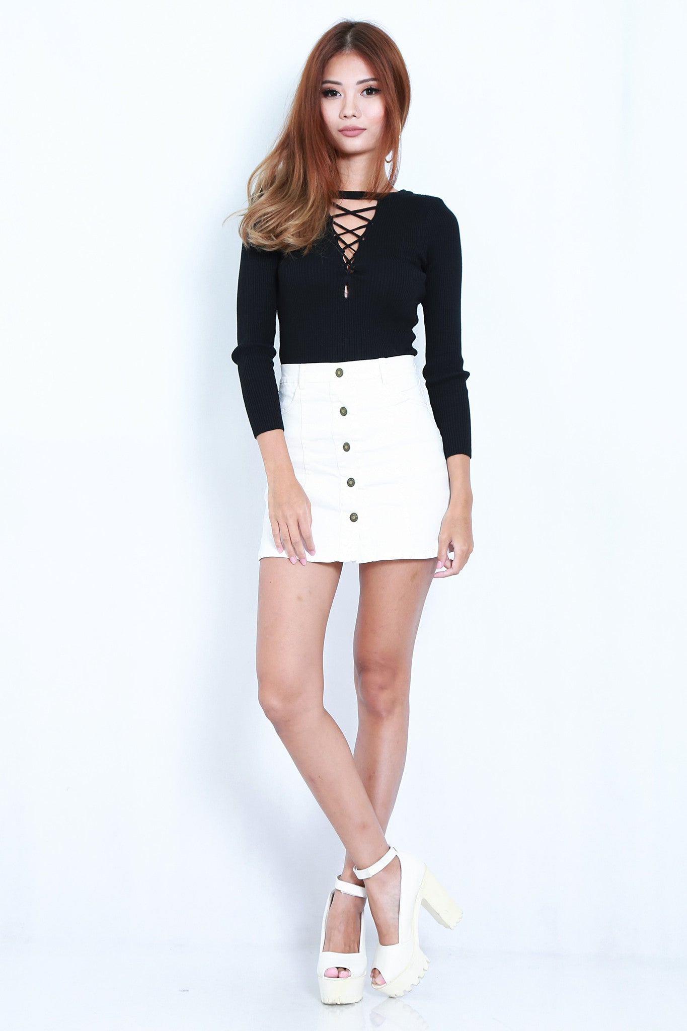 PERFECT MATCH BUTTONED SKIRT IN WHITE - TOPAZETTE