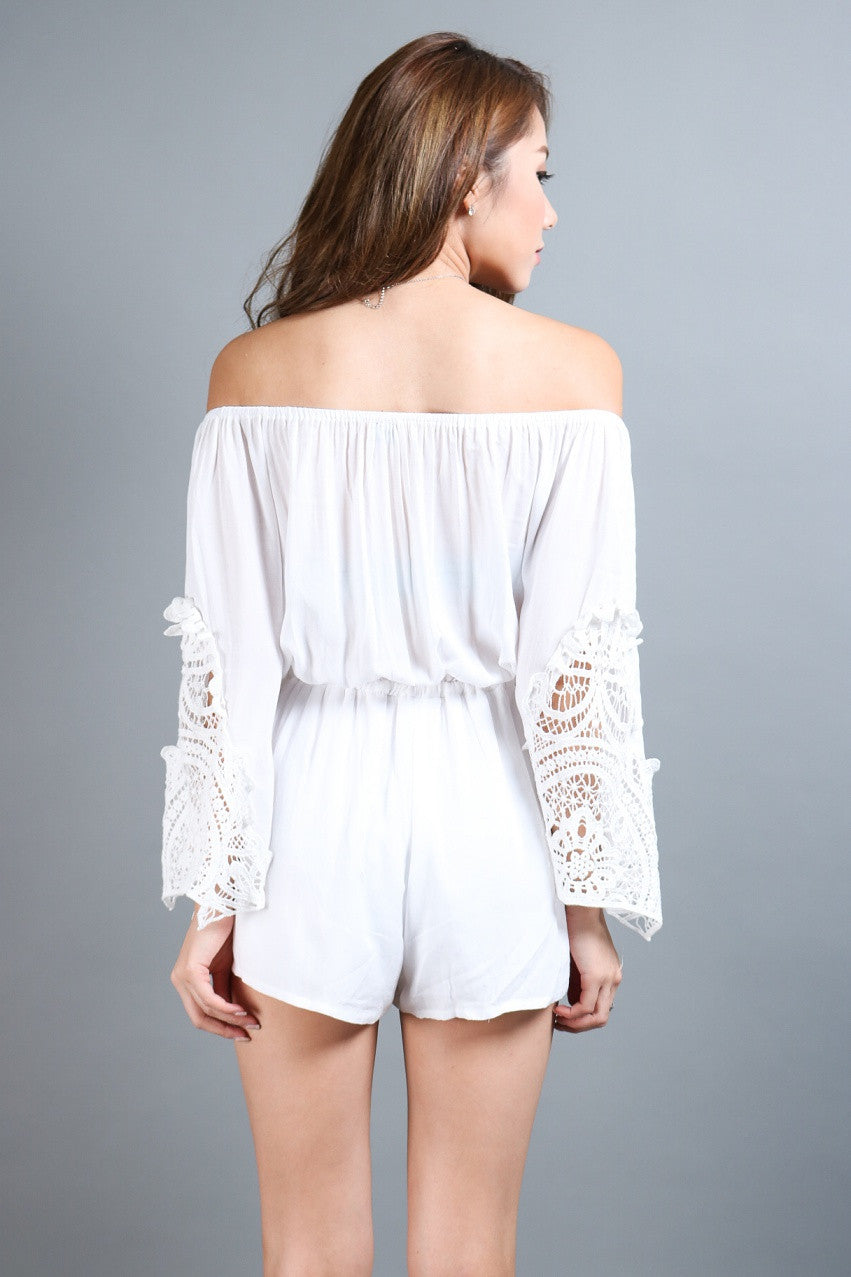 #MADEBYTPZ DREAM BOHO CROCHET ROMPER IN WHITE - TOPAZETTE