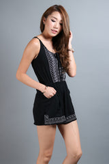 (RESTOCKED) #MADEBYTPZ MODEL OFF DUTY EMBROIDERY ROMPER IN BLACK - TOPAZETTE