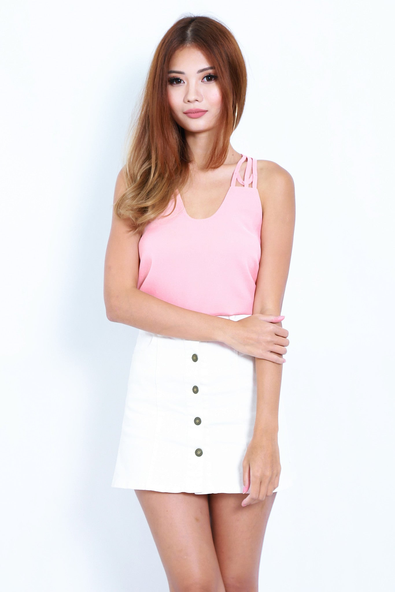 *TOPAZ* ALL IN THE DETAILS TOP IN PEACH - TOPAZETTE