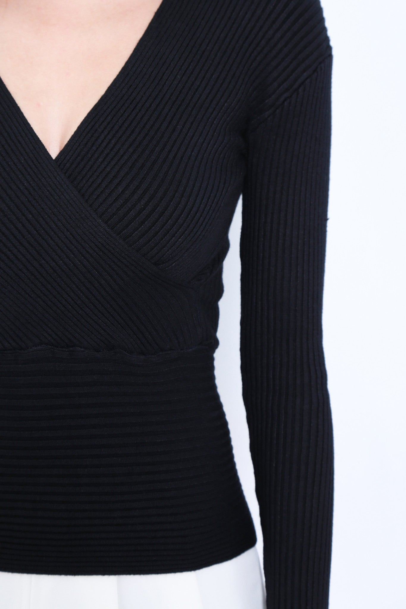 *RESTOCKED* WRAP RIBBED KNIT TOP IN BLACK - TOPAZETTE