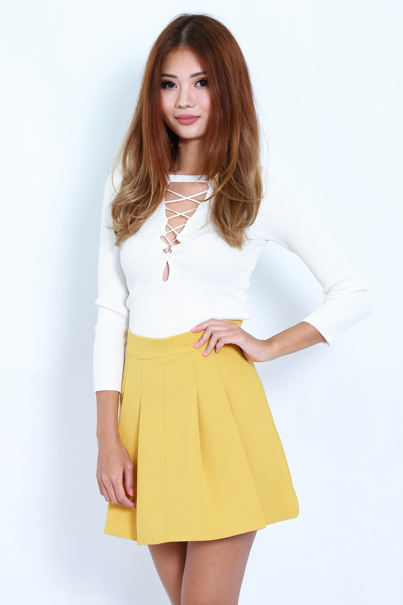 TWO WAY LACED UP KNIT TOP IN WHITE