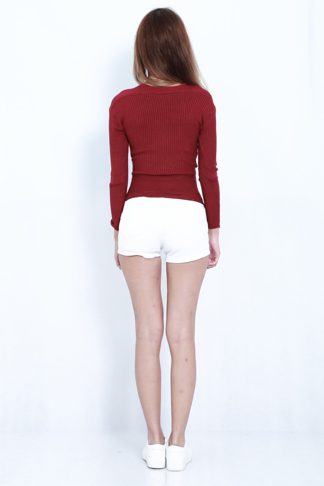 WRAP RIBBED KNIT TOP IN WINE