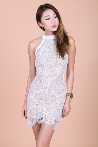 *TOPAZ* (PREMIUM) DATE NIGHT LACE DRESS IN WHITE