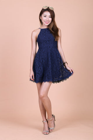 *TOPAZ* (PREMIUM) MAE CROCHET LACE DRESS IN NAVY