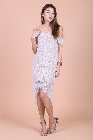 *TOPAZ* (PREMIUM) POSH ASYMMETRICAL LACE DRESS IN WHITE