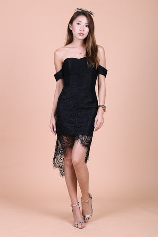 *TOPAZ* (PREMIUM) POSH ASYMMETRICAL LACE DRESS IN BLACK