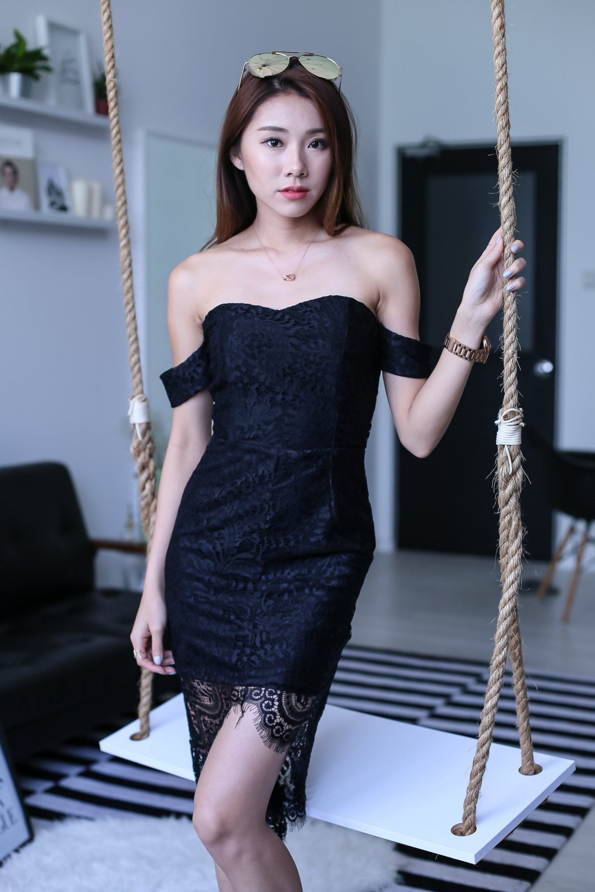 (BACKORDER) *TOPAZ* (PREMIUM) POSH ASYMMETRICAL LACE DRESS IN BLACK - TOPAZETTE