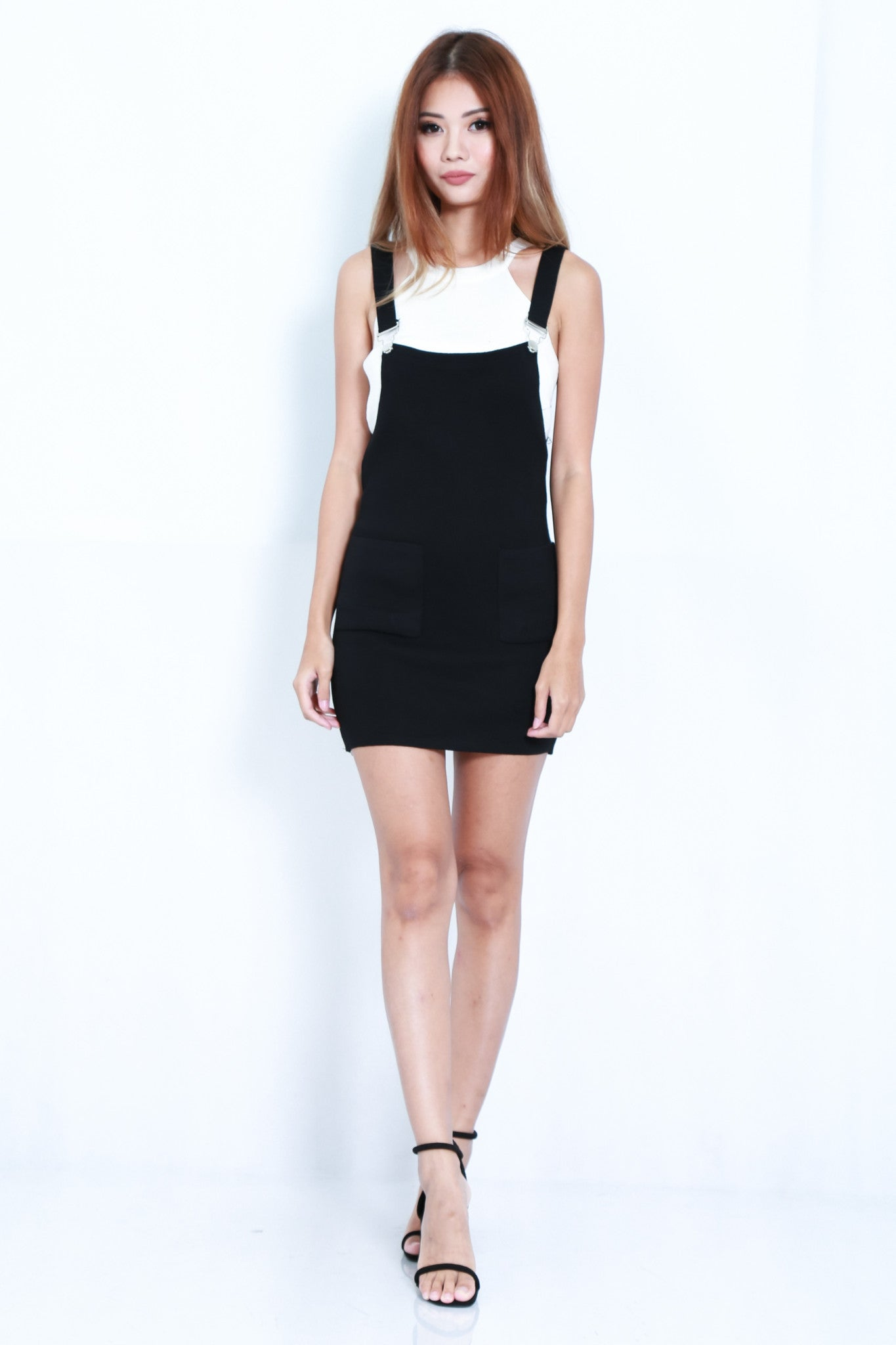 (RESTOCKED) CLASSIC KNIT DUNGAREE DRESS IN BLACK - TOPAZETTE
