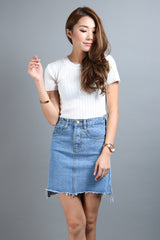 ASYMMETRICAL DENIM SKIRT IN LIGHT - TOPAZETTE