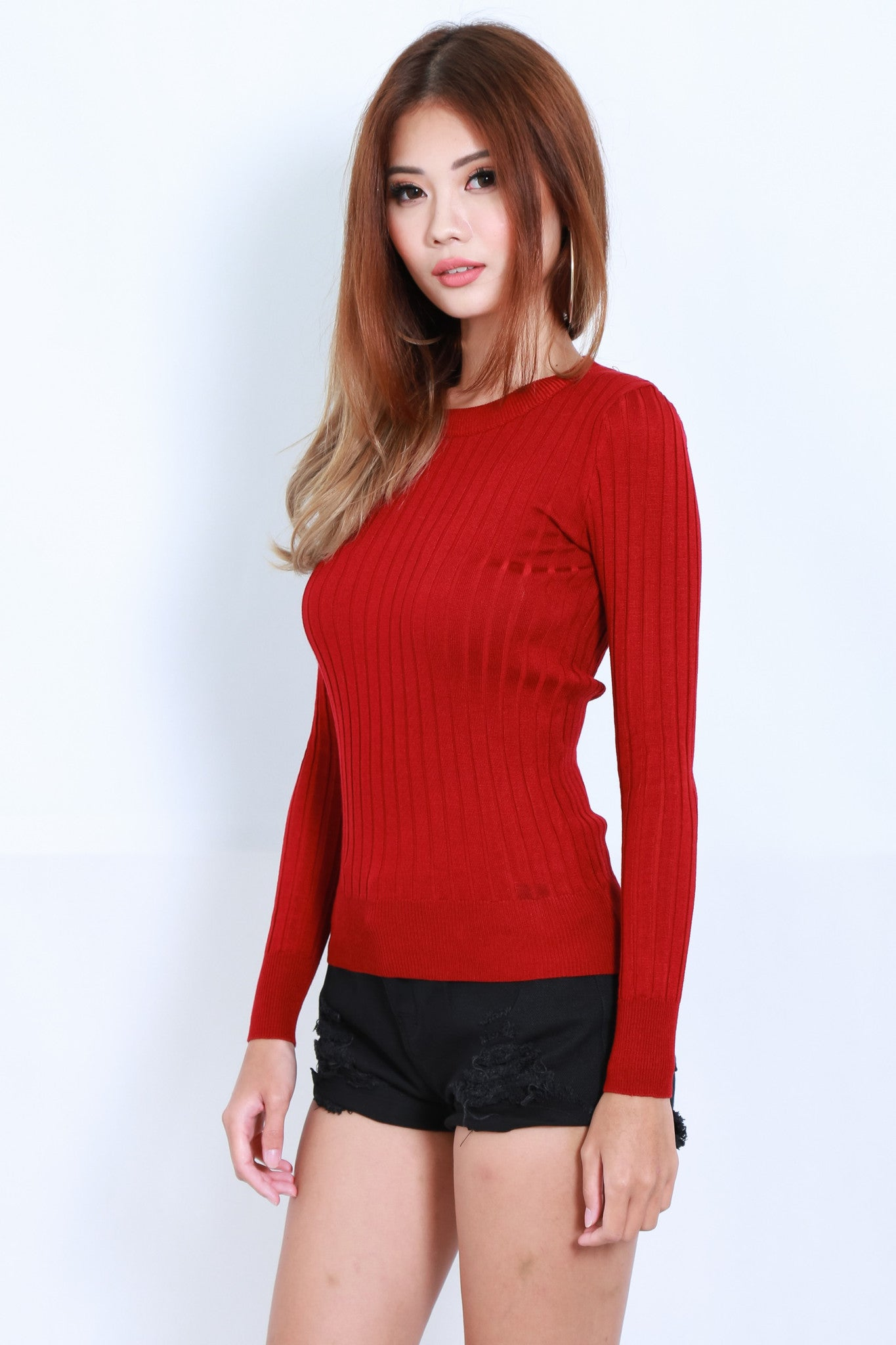 TOO COOL FOR SCHOOL KNIT TOP IN WINE