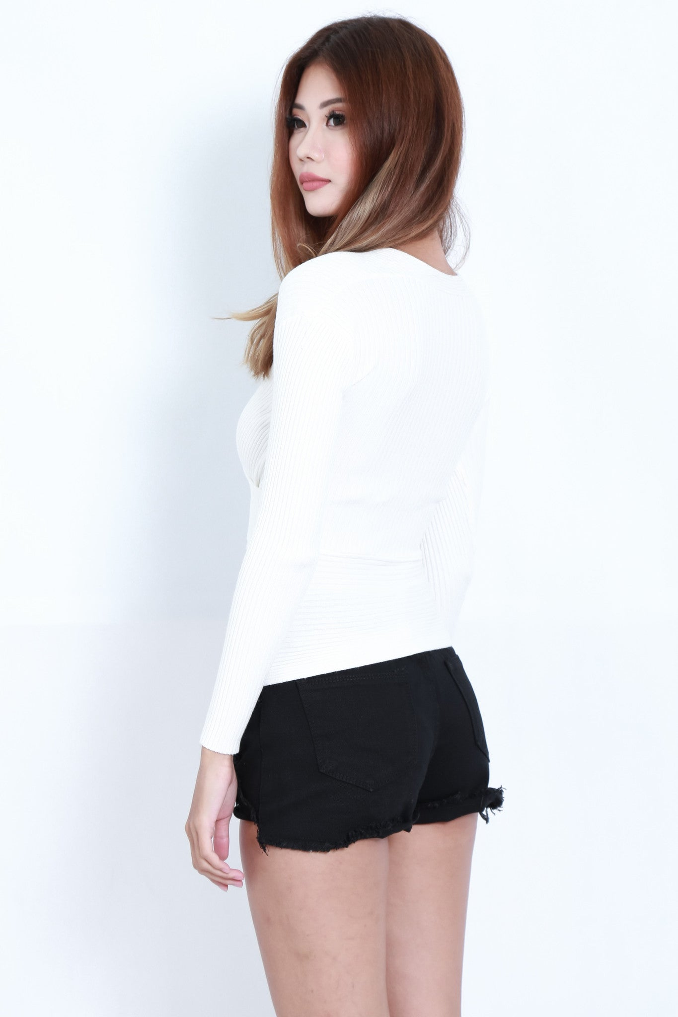 *RESTOCKED* WRAP RIBBED KNIT TOP IN WHITE - TOPAZETTE