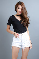 (RESTOCKED 3) CHOKER REVERSIBLE KNIT TOP IN BLACK - TOPAZETTE