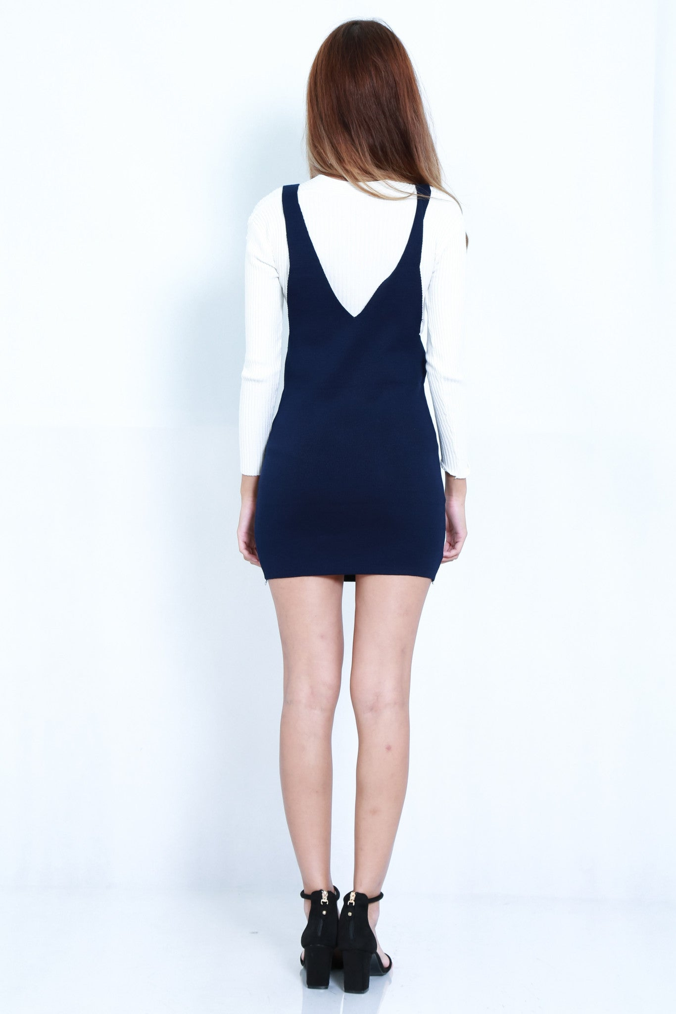 (RESTOCKED) CLASSIC KNIT DUNGAREE DRESS IN NAVY - TOPAZETTE