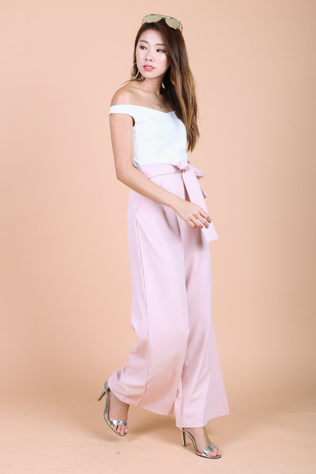 TOPAZ *PREMIUM* COLOURBLOCK CULOTTES JUMPSUIT IN BABY PINK