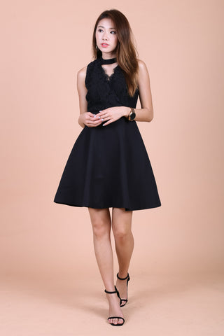 *TOPAZ* (PREMIUM) ARIANA LACE CHOKER DRESS IN BLACK