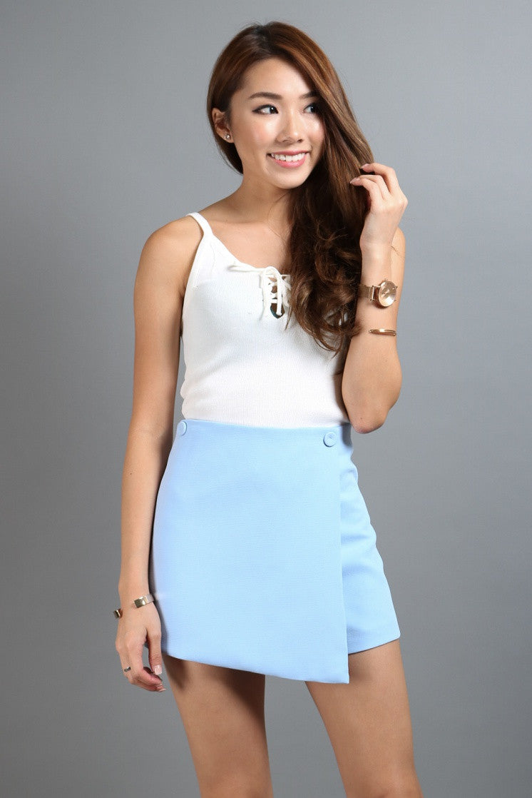 (RESTOCKED) OVERLAP FLAP SKORTS IN BABY BLUE - TOPAZETTE