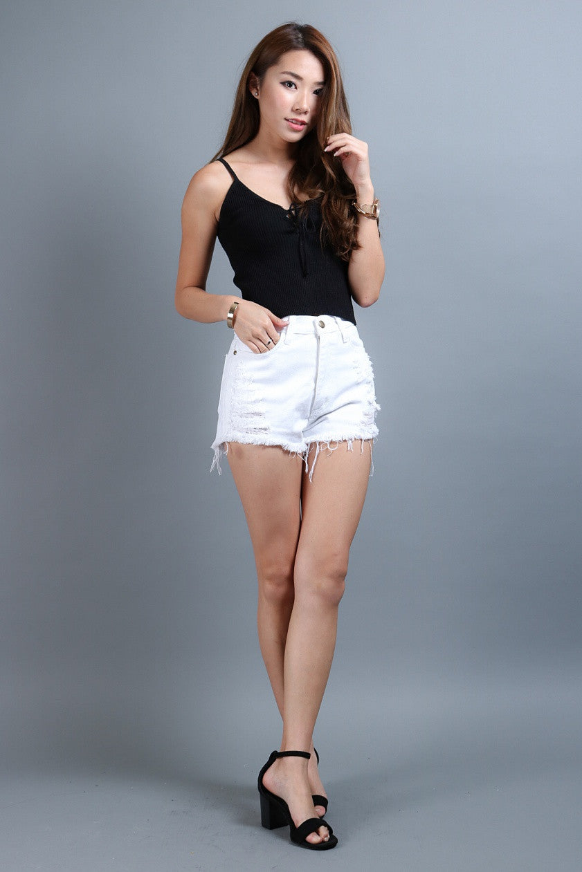 (RESTOCKED) RIBBED LACE UP TOP IN BLACK - TOPAZETTE
