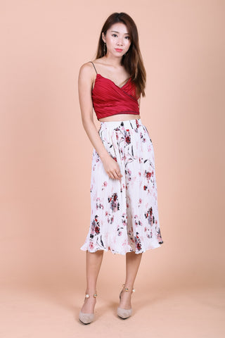 FLORAL PLEATED CULOTTES IN WHITE