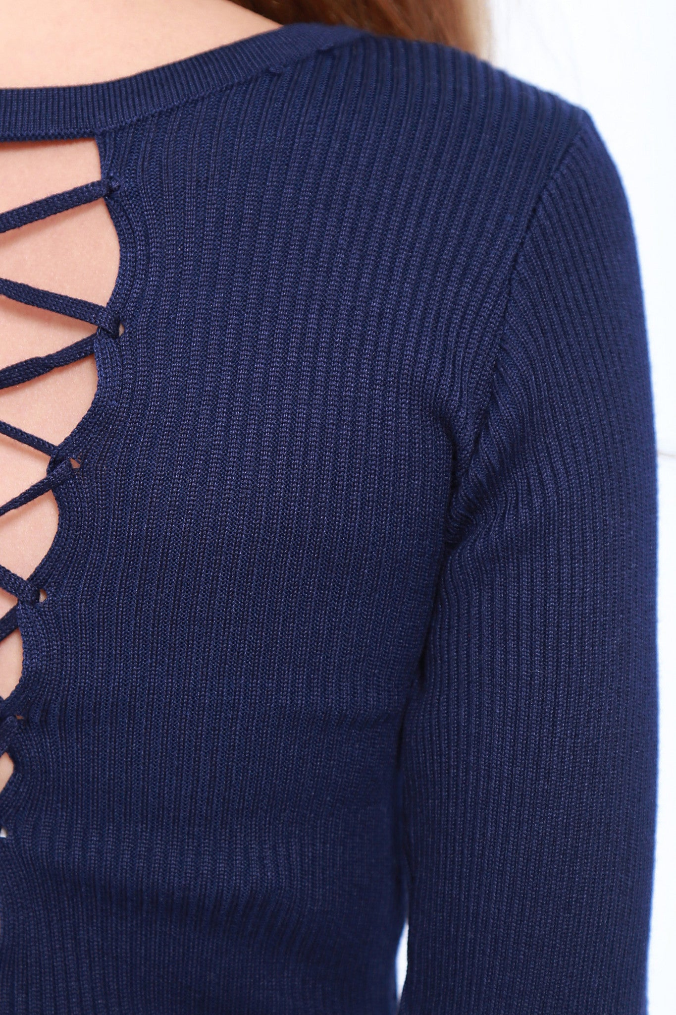 TWO WAY LACED UP KNIT TOP IN NAVY