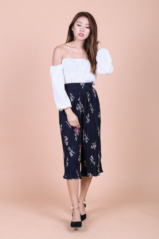 CAIA FLORAL PLEATED CULOTTES IN NAVY