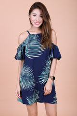 SUMMER TROPICS COLD SHOULDER DRESS IN NAVY