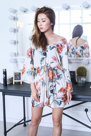 SPRING FLORAL DRESS IN OFF WHITE