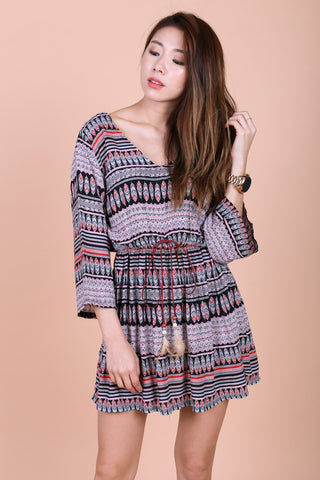 BOHO AZTEC SUMMER DRESS (BLACK BASE)