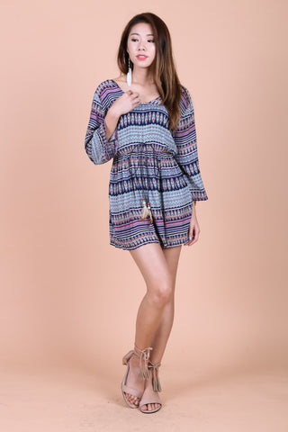 BOHO AZTEC SUMMER DRESS (NAVY BASE)