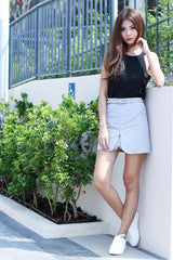 CROCHET INSERT SKIRT IN GREY