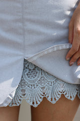 CROCHET INSERT SKIRT IN GREY - TOPAZETTE