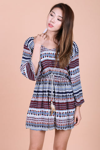 BOHO AZTEC SUMMER DRESS (WHITE BASE)