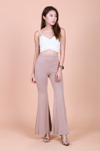 FLOWY FLARE HIGH WAIST PANTS IN TAUPE
