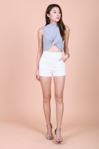 WRAP TWISTED CROP TOP IN LIGHT GREY